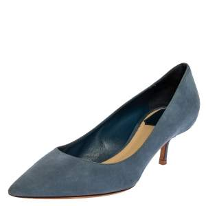 Dior Blue Suede Leather Kitten Heel Pointed Toe Pumps Size 37