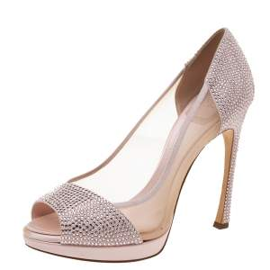 Dior Pink Leather, Satin and Mesh Crystal Embellished Peep Toes Pumps Size 39