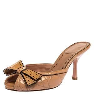 Dior Beige Patent Leather Bow Peep Toe Slide Sandals Size 35.5