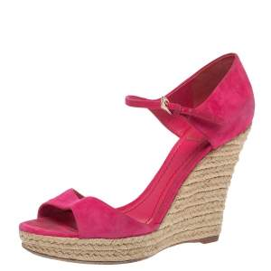 Dior Pink Suede Optique Wedge Ankle Strap Sandals Size 39.5