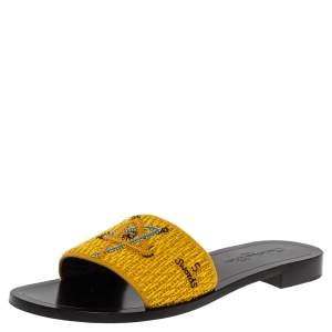 Dior Yellow Tarot Embroidered Fabric Flat Slides Size 39.5