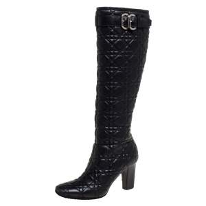 Dior Black Cannage Quilted Leather Buckle Detail Knee High Boots Size 36