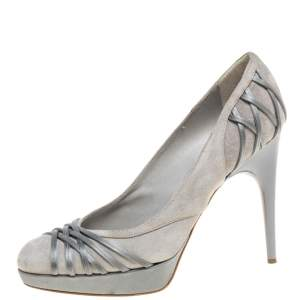 Dior Grey Suede Leather And Satin Platform Pumps Size 37.5