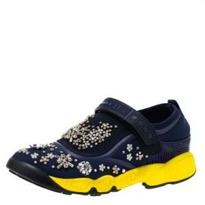 """حذاء رياضي ديور """"فيوجن"""" بطراز منخفض من أعلى مزخرف نيوبرين شبك و قماش أزرق مقاس 37"""