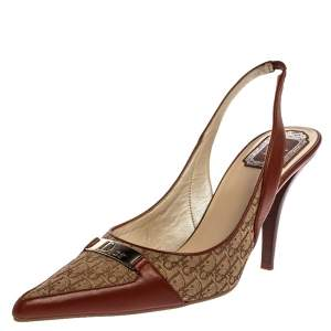 Dior Brown Leather and Canvas Vintage Diorissimo Pointed Toe Slingback Sandals Size 39.5