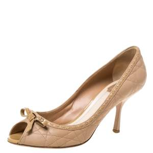 Dior Beige Leather Cannage Quilted Peep Toe Bow Pumps Size 40