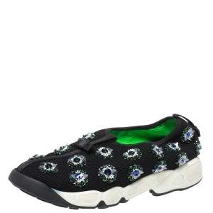 Dior Black Mesh Fusion Embellished Low Top Sneakers Size 38