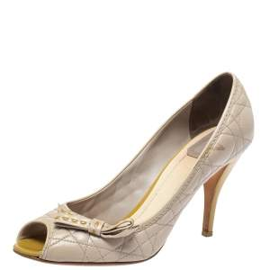 Dior Beige Cannage Leather Bow Detail Peep Toe Pumps Size 39