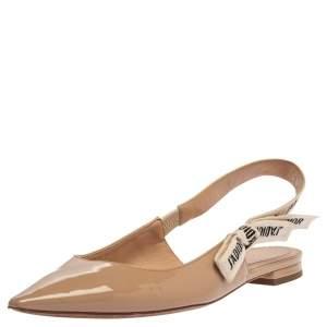 Dior Beige Patent Leather J'Adior Slingback Flat Sandals Size 39