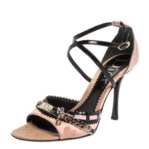 Dior Pink/Black Satin And Leather Chain Embellished Ankle Strap Sandals Size 36