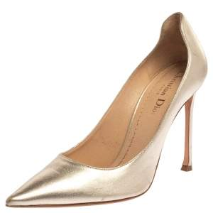 Dior Metallic Gold Leather Pointed Toe Pumps Size 39