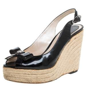 Dior Black Patent Leather Bow Espadrille Wedge Slingback Sandals Size 38
