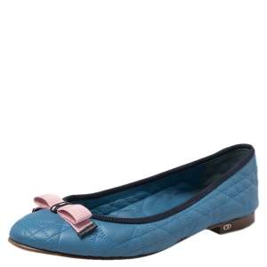 Dior Blue Quilted Leather Bow Ballet Flats Size 39
