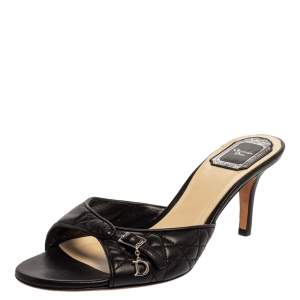 Dior Black Cannage Leather Buckle Open Toe Sandals Sandals Size 39