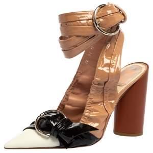 Dior Multicolor Patent Leather Conquest Buckle Detail Ankle Wrap Sandals Size 38