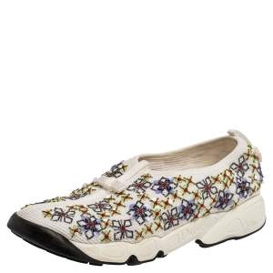 Dior White Mesh Fusion Embellished Slip On Sneakers Size 39