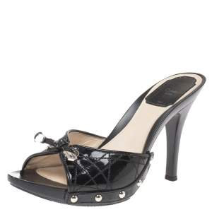 Dior Black Quilted Patent Leather Clog Sandals Size 36.5