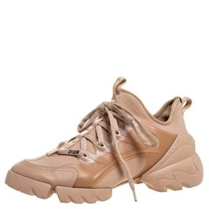 Dior Beige Stretch Fabric And Leather Trim D-Connect Low Top Sneakers Size 38