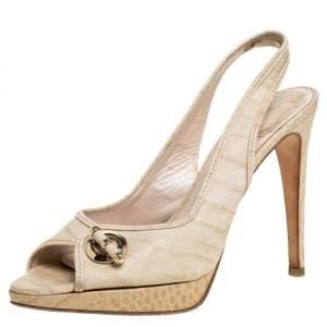 Dior Beige Croc Embossed Leather Platform Slingback Sandals Size 39.5