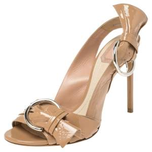 Dior Beige Patent Leather Buckle Sandals Size 39