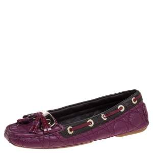 Dior Magenta Cannage Leather Tassel Detail Slip On Loafers Size 38