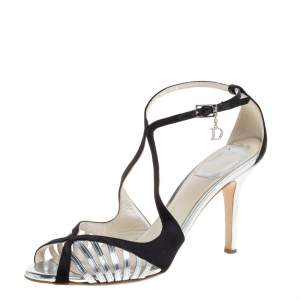 Dior Black/Silver Satin and Leather Strappy Ankle Strap Sandals Size 37.5