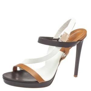 Dior Tri Color Leather Ankle Strap Open Toe Sandals Size 41