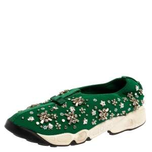 Dior Green Embellished Mesh Fusion Low Top Sneakers 38.5