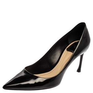 Dior Black Patent Leather Pointed Toe Pumps Size 38.5