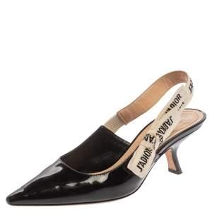 Dior Black Patent Leather J'adior Slingback Sandals Size 35.5