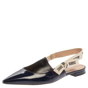 Dior Blue Patent Leather J'adior Slingback Flats Size 37