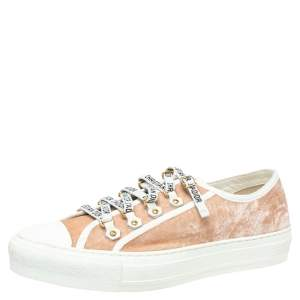 Dior Beige Velvet And Cotton Trim Walk'N'Dior Low Top Sneakers Size 40.5