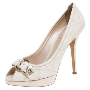 Dior Cream White Cannage Leather Bee Detail Peep Toe Platform Pumps Size 37.5