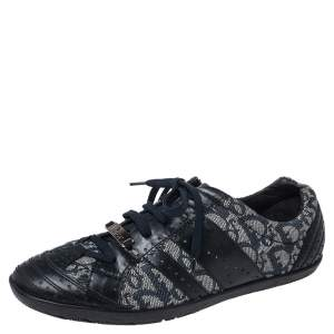 Dior Blue Leather and Diorissimo Canvas Low Top Sneakers Size 40