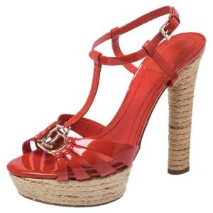 Christian Dior Red Patent Leather CD2 T Strap Espadrilles Sandals Size 38