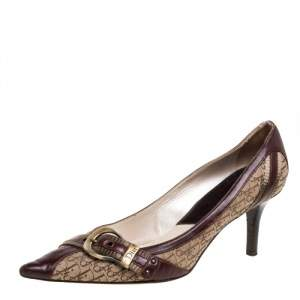 Dior Brown/Beige Canvas And Leather Buckle Detail Pointed Toe Pumps Size 39