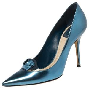 Dior Blue Patent Leather and PVC Rose Pointed Toe Pumps Size 37