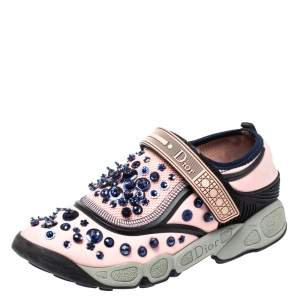 Dior Pink Stretch Fabric Fusion Embellished Low Top Sneakers Size 35