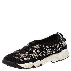 Dior Black Mesh Fusion Crystal Embellished Slip On Sneakers Size 37