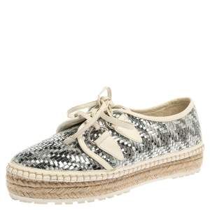 Dior Metallic Silver/White Leather Espadrille Lace Up Sneakers Size 37