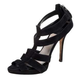 Dior Black Suede Caged Peep Toe Zipper Sandals Size 39