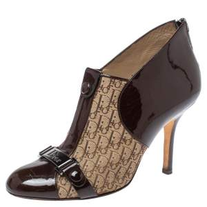Dior Brown/Beige Patent Leather and Diorissimo Canvas Ankle Booties Size 35.5