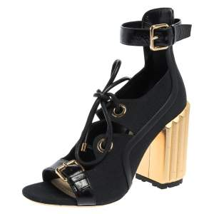 Dior Black Canvas And Leather Trim Glorious Ankle Strap Block Heel Sandals Size 39