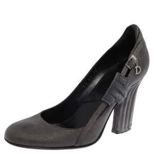 Dior Grey Suede Side Buckle Detail Block Heel Pumps Size 36
