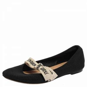 Dior Black Fabric Embroidered Miss J'adior Ballet Flats Size 36