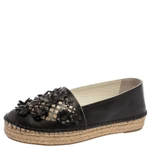 Dior Black Laser Cut Floral Embellished Leather Flore Espadrilles Size 35.5