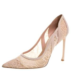 Dior Pink Lace And Suede Chantilly Pointed Toe Pumps Size 41