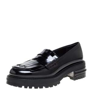 Dior Black Patent Leather Fringe Penny Loafers Size 38.5
