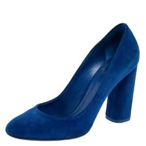 Dior Blue Suede Leather Block Heel Round Toe Pumps Size 39