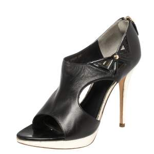Dior Black Patent and Leather Bow Cut Out Platform Sandals Size 38